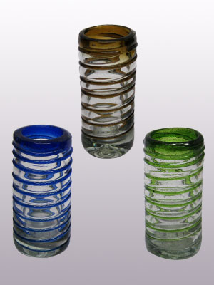 Spiral Glassware / 'Blue Green and Amber Spiral' Tequila shot glasses (set of 6) / Perfect for parties, this set includes two shot glasses with each colored spiral: cobalt blue, emerald green and amber.